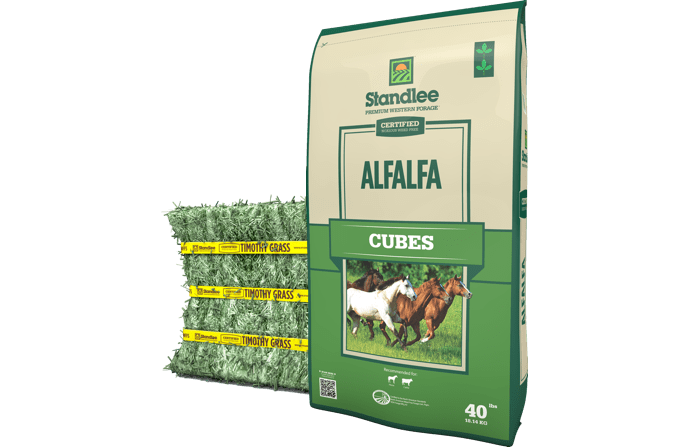 Compressed bale and alfalfa cubes